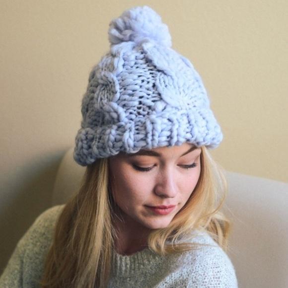 🆕Mariah Blue Marled Chunky Knit Beanie Hat 4963c1e0eaa